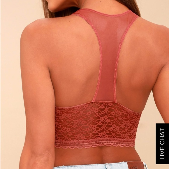 b7c15fc649d96 Free people stay with me terra cotta lace soft bra